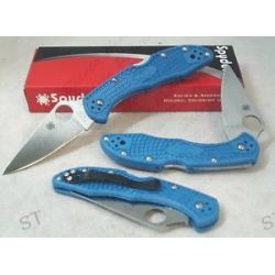 Spyderco Blue Delica Plain Flat Ground Knife C11FPBL