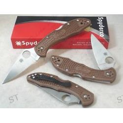 Spyderco Brown Delica Plain Flat Ground Knife C11FPBN