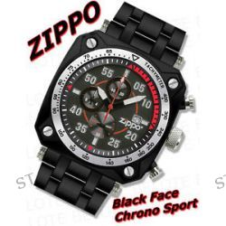 Zippo Black Face Chronograph Sport SS Band Watch 45019
