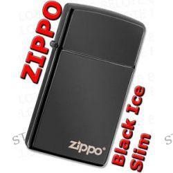 Zippo Slim Ebony w Zippo Logo Windproof Lighter Made in USA 28123ZL New