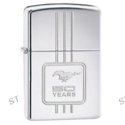 Zippo Ford Mustang 50 Years High Polish Chrome Windproof Lighter 28542 New L K
