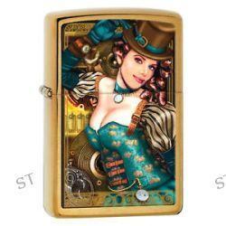 Zippo Lady Industrial Machinery Steampunk Top Hat Brass Lighter 28321 New