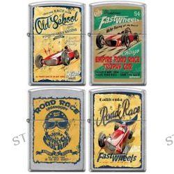 Zippo Old School 1950's Vintage Race Club Posters 4 Lighter Set Street Chrome