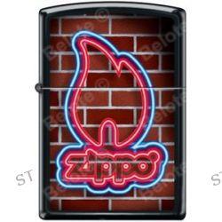 Zippo Neon Flame Sign Logo Brick Wall Black Matte Windproof Lighter New