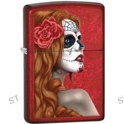Zippo 2015 Catalog Day of Dead Girl Skull w Rose Candy Apple Red Lighter 28830
