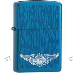 Zippo Harley Davidson HD Wings Ghost Flames Sapphire Lighter 28687 L K New