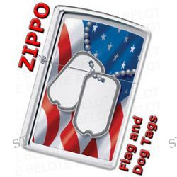 Zippo Flag and Dog Tags High Polish Chrome Windproof Lighter 28291 New