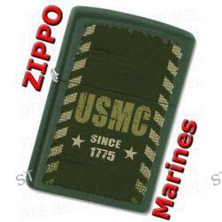 Zippo USMC Marines Since 1775 Green Matte Windproof Lighter 28337 New