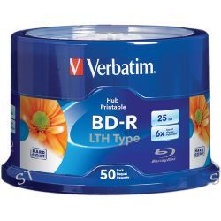 Verbatim 25GB 6x LTH Type Blue-ray Printable Discs (50-Pk) 97672