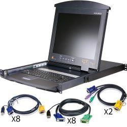 """ATEN KL9116MUKIT 17"""" 16-Port Dual Rail LCD IP KL9116MUKIT"""