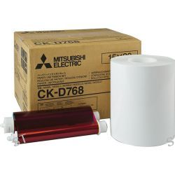 "Mitsubishi Set of Two 6.0"" Paper Rolls and Ribbons CK-D768"