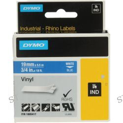 "Dymo Rhino 3/4"" Blue Vinyl Labels (White Print) 1805417 B&H"