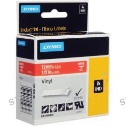 "Dymo Rhino 1/2"" Red Vinyl Labels (White Print) 1805416 B&H"