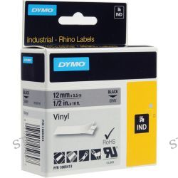 "Dymo Rhino 1/2"" Gray Vinyl Labels (Black Print) 1805413 B&H"