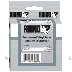 "Dymo Rhino 3/8"" White Vinyl Labels (Black Print) 18443 B&H"