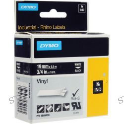 "Dymo Rhino 3/4"" Black Vinyl Labels (White Print) 1805436"