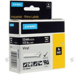 "Dymo Rhino 1/2"" Black Vinyl Labels (White Print) 1805435"