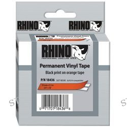 "Dymo Rhino 3/4"" Orange Vinyl Labels (Black Print) 18436 B&H"