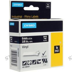 "Dymo Rhino 3/8"" Black Vinyl Labels (White Print) 1805437"