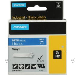 "Dymo Rhino 1.0"" Blue Vinyl Labels (White Print) 1805423 B&H"