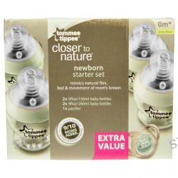 Tommee Tippee, Closer to Nature, Newborn Starter Set, Slow Flow, Mint Green and Animals, 5 Piece Set