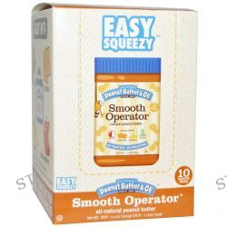Peanut Butter & Co., Easy Squeezy, All Natural Peanut Butter, Smooth Operator, 10 Squeeze Packs, 1.15 oz (32 g) Each