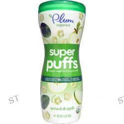 Plum Organics, Super Puffs, Organic Veggie, Fruit & Grain Puffs, Spinach & Apple, 1.5 oz (42 g)
