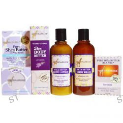 Out of Africa, Shea Butter Body Kit, Lavender, 4 Pieces with 1 Free 2 oz Shea Butter