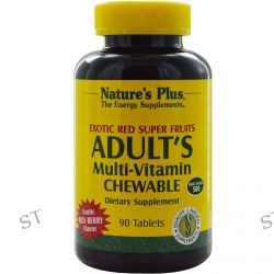 Nature's Plus, Adult's Multi-Vitamin Chewable, Exotic Red Super Fruits, Red Berry, 90 Tablets