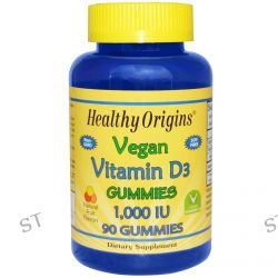 Healthy Origins, Vegan Vitamin D3 Gummies, Natural Fruit Flavors, 1,000 IU, 90 Gummies