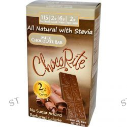 HealthSmart Foods, Inc., ChocoRite, Milk Chocolate Bar, No Sugar Added, 5 Bars, (28 g) Each