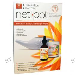 Himalayan Institute, Neti Pot, Porcelain Sinus Cleansing System, 3 Piece Kit