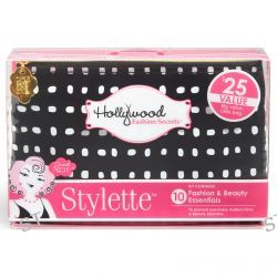 Hollywood Fashion Secrets, Stylette, Fashion & Beauty Essentials Kit, Black with White Polka Dots, 1 Kit