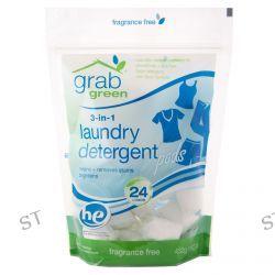 GrabGreen, 3-in-1 Laundry Detergent, Fragrance Free, 15.2 oz (432 g)