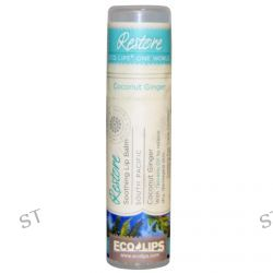 Eco Lips Inc., One World, Soothing Lip Balm, Restore, Coconut Ginger, .25 oz (7 g)