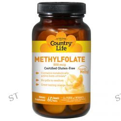 Country Life, Methylfolate, Orange Flavor, 800 mcg, 60 Smooth Melts