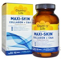 Country Life, Gluten Free, Tri Layer Maxi-Skin, Collagen Plus C&A, 90 Tablets