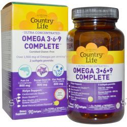Country Life, Gluten Free, Omega 3-6-9, Ultra Concentrated, Lemon, 90 Softgels