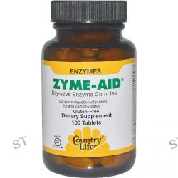 Country Life, Gluten Free, Zyme-Aid, Digestive Enzyme Complex, 100 Tablets