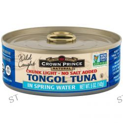 Crown Prince Natural, Tongol Tuna, Chunk Light - No Salt Added, In Spring Water, 5 oz (142 g)
