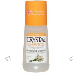 Crystal Body Deodorant, Crystal Essence, Mineral Deodorant Roll On, Chamomile & Green Tea, 2.25 fl oz (66 ml)