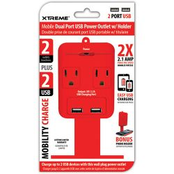 Xtreme Cables 2 Outlet Wall Tap with Dual Port USB and 28285 B&H
