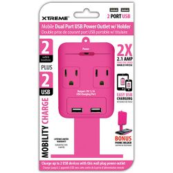 Xtreme Cables 2 Outlet Wall Tap with Dual Port USB and 28284 B&H