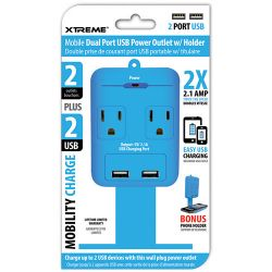 Xtreme Cables 2 Outlet Wall Tap with Dual Port USB and 28283 B&H