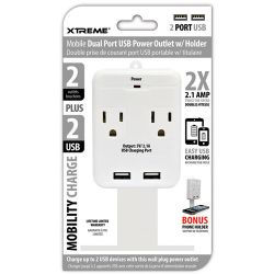 Xtreme Cables 2 Outlet Wall Tap with Dual Port USB and 28282 B&H