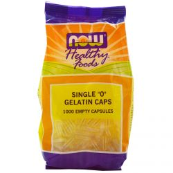 "Now Foods, Healthy Foods, Single ""0"" Gelatin Caps, 1000 Empty Capsules"