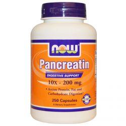 Now Foods, Pancreatin, 10X - 200 mg, 250 Capsules