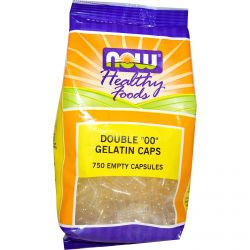 """Now Foods, Healthy Foods, Double """"00"""" Gelatin Caps, 750 Empty Capsules"""