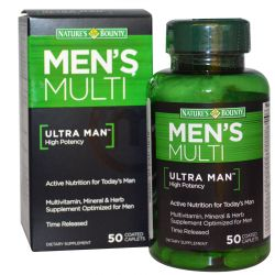 Nature's Bounty, Men's Multi, Ultra Man, High Potency, 50 Coated Caplets