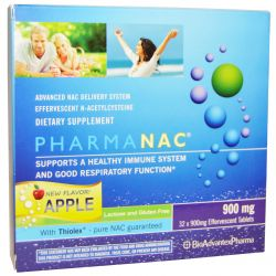 BioAdvantex Pharma, PharmaNAC, Advanced NAC Delivery System, Apple, 900 mg, 32 Effervescent Tablets